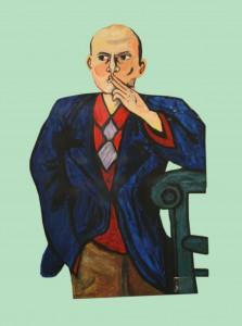 Max Beckmann, Selbstbildnis in blauer Jacke, 1950