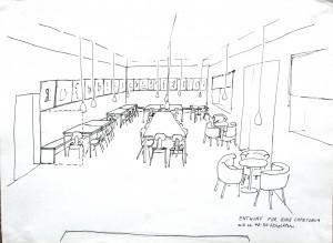Die neue Cafeteria. Enturf: marion Roters, Juni 2014.